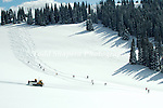 Backcountry, snowcat skiing at Targhee, Wyoming.  The resort averages over 500 inches of snow each winter, among the most of any U.S. resort, annually.