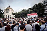 Rome, Italy  September 03, 2015<br /> Demostration anti-mafia, called by the centre-left Democratic Party,  at the church of Don Bosco in Rome to protest the ostentatious funeral of the purported Italian crime boss, Vittorio Casamonica, and to take a public stand against Italy's powerful crime syndicates.
