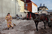 A woman stands with a broom next to a horse and cart, in front of a construction site. Buzescu is known for it's ultra-wealthy Roma and their bizarre mansions that line the main street. The Roma of Buzescu are part of the Kalderash clan and are known for being coppersmiths and dealing with metal scraps. After the fall of the communist regime in the late 80's, they stripped old factories of their metals and some made a small fortune re-selling them. They are also known for making cazane, copper stills that produce alcohol such as palinka, a plum brandy.