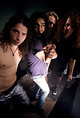 """Soundgarden - L-R: Chris Cornell, Kim Thayil, Matt Cameron, Jason Everman.- on the set of the video shoot for """"Hands All Over,"""" Chaplin Stage, Hollywood, California. 21 September 1989.  (Photo by: Greg Allen/Cache Agency/Dalle/IconicPix ** AVAILABLE FOR UK ONLY **"""