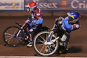 Heat 3: Jonas Davidsson (blue) and Kauko Nieminen (red) - Lakeside Hammers vs Wolverhampton Wolves, Elite Shield Speedway at the Arena Essex Raceway, Purfleet - 26/03/10 - MANDATORY CREDIT: Rob Newell/TGSPHOTO - Self billing applies where appropriate - 0845 094 6026 - contact@tgsphoto.co.uk - NO UNPAID USE.