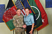"""Former Commander of International Security Assistance Force and United States Forces-Afghanistan General David Petraeus, left, poses for a photo with Paula Broadwell, co-author of  """"All In: The Education of General David Petraeus"""" on July 13, 2011. The photo was made available on the International Security Assistance Force's (ISAF) Flickr website.  .Mandatory Credit: ISAF via CNP"""