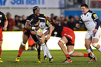Rob Webber of Bath Rugby takes on the Saracens defence. Aviva Premiership match, between Saracens and Bath Rugby on January 30, 2016 at Allianz Park in London, England. Photo by: Patrick Khachfe / Onside Images