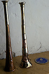 Duke of Beaufort Hunt Badminton estate Gloucestershire Hunting horns  having just been polished before a days hunting.