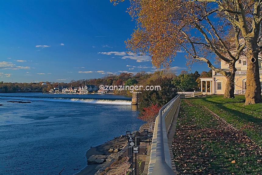 Schuylkill  River, waterfall, Boat House, Row,  Phila, PA High dynamic range imaging (HDRI or HDR)