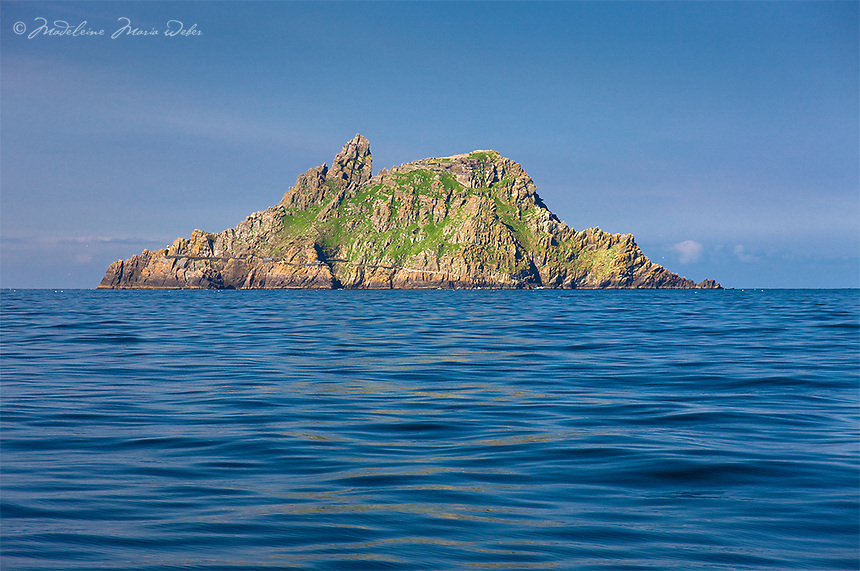 Arriving at Skellig Michael, Island or Mountain Peak near the Southwest coast of Kerry, Ireland