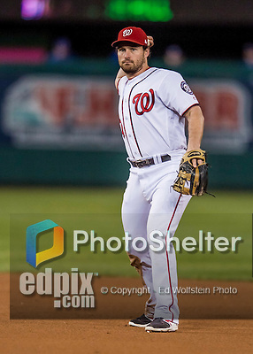 13 October 2016: Washington Nationals second baseman Daniel Murphy gets the third out in the 3rd inning of the NLDS Game 5 against the Los Angeles Dodgers at Nationals Park in Washington, DC. The Dodgers edged out the Nationals 4-3, to take Game 5, and the Series, 3 games to 2, moving on to the National League Championship against the Chicago Cubs. Mandatory Credit: Ed Wolfstein Photo *** RAW (NEF) Image File Available ***