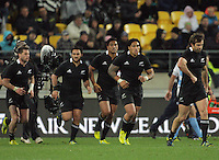 From left, Cory Jane, Piri Weepu, Julian Savea, Ma'a Nonu and Conrad Smith run back after Savea's try during the Rugby Championship international rugby test match between the All Blacks and Argentina at Westpac Stadium, New Zealand on Saturday, 8 September 2012. Photo: Dave Lintott / lintottphoto.co.nz