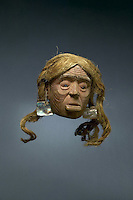 Mask, c. 1850, by a Haida artist, made from wood, rope and abalone shell, bought through the Native Arts Acquisition Fund, in the Denver Art Museum, Denver, Colorado, USA. Native Americans on the North West Coast use masks in feasts called potlatches, held to celebrate clan status. Picture by Manuel Cohen