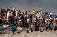 The anual water festival in Luang Prabang on the banks of the Mekong River , Laos