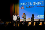Members of the group Catch 22 speak to the crowd during the opening of Powershift. The UKYCC PowerShift Conference, held on Oct. 9-12, brought together over 250 young people from across the United Kingdom and the world to discuss climate change. The conference taught them how to  organize, build a social movement and take creative and intelligent action to tackle the climate crisis. Institute of Education, London, United Kingdom (2009 ©Robert vanWaarden)