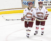 Kelli Stack (BC - 16), Melissa Bizzari (BC - 4) - The Boston College Eagles defeated the visiting Northeastern University Huskies 2-1 on Sunday, January 30, 2011, at Conte Forum in Chestnut Hill, Massachusetts.
