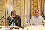 "Press conference in Chiba, Tokyo,  by William Hawker, father, on left, (pictured with Nigel Lewis ""family friend"" on right) of murdered UK english language teacher Lindsay Ann Hawker,  Tokyo, Japan, on Wednesday, Mar. 28, 2007."