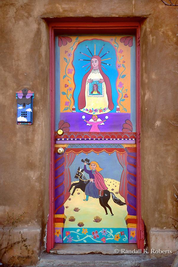 Painted door, Canyon Road arts district, Santa Fe, New Mexico
