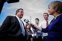 NJ's governor Chris Christie speaks to the media while he visited the Jersey shore's reconstruction, marking the second anniversary of Sandy storm in New Jersey. 10.29.2014. Eduardo MunozAlvarez/VIEWpress