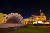 Soundshell and colonnade with the T&G Dome behind (art deco architecture), Napier, Hawkes Bay, North Island, New Zealand