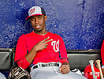 23 February 2013: Washington Nationals infielder Eury Perez sits in the dugout awaiting the start of play prior to a Spring Training Game against the New York Mets at Tradition Field in Port St. Lucie, Florida. The Mets defeated the Nationals 5-3 in their Grapefruit League Opening Day game. Mandatory Credit: Ed Wolfstein Photo *** RAW (NEF) Image File Available ***