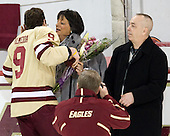 Barry Almeida (BC - 9), Anna Almeida, Barry Almeida - The Boston College Eagles defeated the University of Vermont Catamounts 4-0 on Saturday, March 3, 2012, at Kelley Rink/Conte Forum in Chestnut Hill, Massachusetts. The two points from the win gave BC the Hockey East regular season championship.