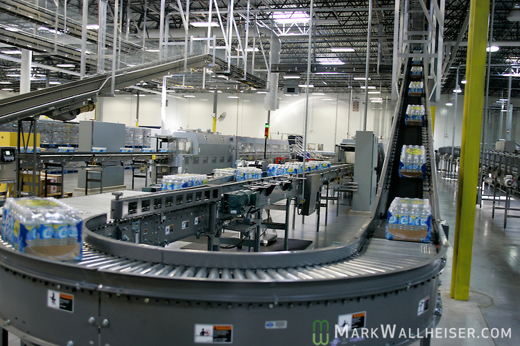 The inside of the drinking water bottling plant at Deer Park in Madison County Florida.  Deer Park water bottling plant is owned by Nestle Water.  The Deer Park drinking water bottling plant is owned by Nestle Waters.