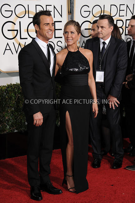 WWW.ACEPIXS.COM<br /> <br /> January 11 2015, LA<br /> <br /> Jennifer Aniston and Justin Theroux arriving at the 72nd Annual Golden Globe Awards at The Beverly Hilton Hotel on January 11, 2015 in Beverly Hills, California.<br /> <br /> <br /> By Line: Peter West/ACE Pictures<br /> <br /> <br /> ACE Pictures, Inc.<br /> tel: 646 769 0430<br /> Email: info@acepixs.com<br /> www.acepixs.com