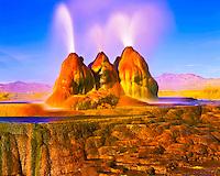 Fly Geyser, Hot spring Geyser with Colorful Algae on Playa Rim, Black Rock Desert, Nevada