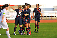 Lauren Chaney celebrates her goal with Lori Lindsey and Carli Lloyd.  The USWNT defeated Iceland (2-0) at Vila Real Sto. Antonio in their opener of the 2010 Algarve Cup on February 24, 2010.