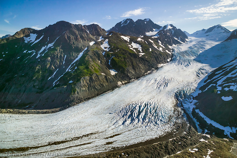 Aerial of Twenty mile glacier, Chugach mountains, Kenai Peninsula, Alaska