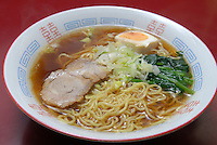 A bowl of ramen made with instant noodles at Sakura instant ramen restaurant in Tokyo. Owner Sakura Takenaka founded the restaurant 2 years ago and now has 10 franchises over Japan..