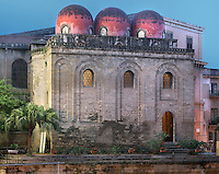 """Apse topped by the three Saracen-style, bulbous, red """"golfball"""" domes, Chiesa di San Cataldo (Church of San Cataldo, La Cataldo), 1154, Palermo, Sicily, Italy. The Romanesque church with Arab influences was founded by Maio of Bari, chancellor to William I, during the Norman occupation of Sicily. Picture by Manuel Cohen"""