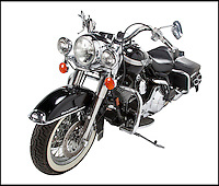 BNPS.co.uk (01202 558833)<br /> Pic: Juliens/BNPS<br /> <br /> ***Please use full byline***<br /> <br /> Hasselhoff's Harley Davidson - a 2003 FLHRCI Road King Classic estimated at &pound;9,000. <br /> <br /> The futuristic talking sportscar driven by TV legend David Hasselhoff in cult show Knight Rider is among a &pound;100,000 archive of the star's possessions up for sale.<br /> <br /> Hasselhoff has also put his iconic red lifeguard jacket from hit programme Baywatch on the market alongside a bizarre, oversized statue of himself.<br /> <br /> The actor, known as The Hoff, shot to fame in 1982 in Knight Rider as crime fighter Michael Knight.<br /> <br /> Knight's partner was an artificially intelligent supercar called Knight Industries Two Thousand - or KITT for short.