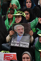 Female supporters of former prime minister Mir-Hossein Mousavi at a rally at Heravi stadium before the 2009 presidential election.
