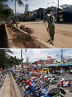 A tsunami brought much destruction to the popular tourist town of Patong, Phuket, hit by the tsunami that struck Asia 26.12.2004. . Thai military and locals quickly started the task of cleaning up, in the hope of having the tourists return as soon as possible. .Five years later Patong beach looks pretty much like it did before the tsunami hit..&copy;Fredrik Naumann/Felix Features