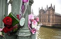 MAR 24 Floral Tributes left on Westminster Bridge