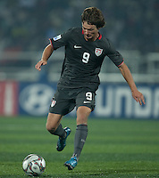 Jack McInerney dribbles the ball. Spain defeated the U.S. Under-17 Men National Team  2-1 at Sani Abacha Stadium in Kano, Nigeria on October 26, 2009.