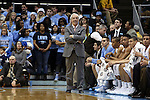 30 December 2014: UNC head coach Roy Williams. The University of North Carolina Tar Heels played the College of William & Mary Tribe in an NCAA Division I Men's basketball game at the Dean E. Smith Center in Chapel Hill, North Carolina. UNC won the game 86-64.