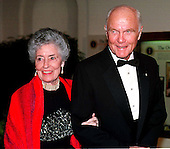United States Senator John H. Glenn (Democrat of Ohio) and his wife, Annie, arrive at The White House for the State Dinner honoring President Jiang Zemin of China at the White House in Washington, D.C. on October 29, 1997..Credit: Ron Sachs / CNP.