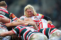 Richard Hibbard of Gloucester Rugby in action at a scrum. Aviva Premiership match, between Leicester Tigers and Gloucester Rugby on February 11, 2017 at Welford Road in Leicester, England. Photo by: Patrick Khachfe / JMP