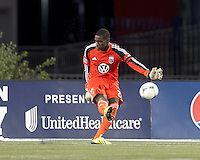 D.C. United goalkeeper Bill Hamid (28). In a Major League Soccer (MLS) match, the New England Revolution (blue) defeated D.C. United (white), 2-1, at Gillette Stadium on September 21, 2013.