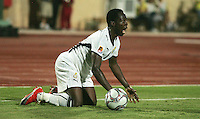 Ghana's Emanuel Agyemang-Badu (8) protest a call against himduring the FIFA Under 20 World Cup Quarter-final match between Ghana and South Korea at the Mubarak Stadium  in Suez, Egypt, on October 09, 2009.