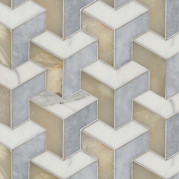 Francois, a handmade mosaic shown in  honed Calacatta, honed Allure and polished Cream Onyx, is part of the Illusions™ Collection by Sara Baldwin  Designs for New Ravenna.