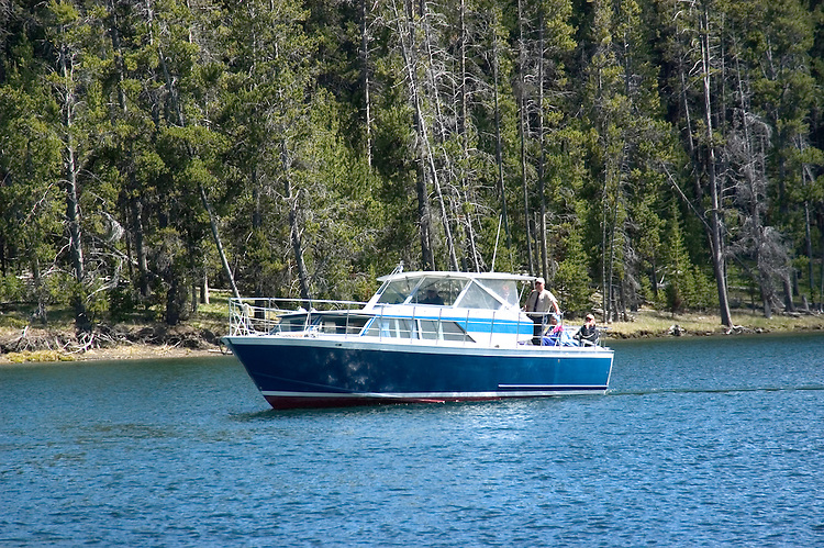 WY: Wyoming, Yellowstone National Park:.Boat Shoshone on Yellowstone Lake.Photo #: yellow1020..Photo copyright Lee Foster, 510/549-2202, lee@fostertravel.com, www.fostertravel.com..