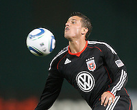 Santino Quaranta #25 of D.C. United chests the ball down during an MLS match against the Chicago Fire on April 17 2010, at RFK Stadium in Washington D.C. Fire won 2-0.