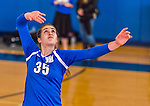 18 October 2015: Yeshiva University Maccabee Middle Blocker Gavriela Colton, a Junior from Teaneck, NJ, warms up prior to a game against the College of Mount Saint Vincent Dolphins at the Peter Sharp Center, in Riverdale, NY. The Dolphins defeated the Maccabees 3-0 in the NCAA Division III Women's Volleyball Skyline matchup. Mandatory Credit: Ed Wolfstein Photo *** RAW (NEF) Image File Available ***
