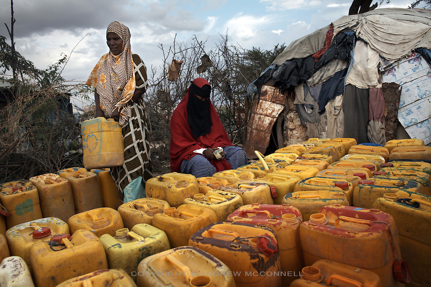 Water containers are lined up to be filled at the State House camp for displaced persons on the outskirts of Hargeisa, Somaliland.
