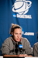 SPOKANE, WA - MARCH 27, 2011: Kayla Pedersen during the off-day press conference, Stanford Women's Basketball , NCAA West Regionals on March 27, 2011.