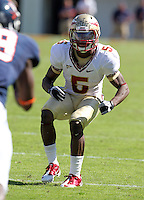 Oct 2, 2010; Charlottesville, VA, USA; Florida State Seminoles cornerback Greg Reid (5) during the game against the Virginia Cavaliers at Scott Stadium. Florida State won 34-14.  Mandatory Credit: Andrew Shurtleff-