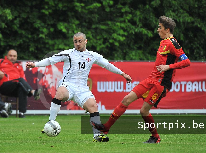 Georgia U19 - Belgium U19 : Julien De Sart (6) and Giorgi Pantsulaia (14)<br /> foto DAVID CATRY / Nikonpro.be