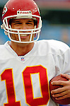 13 November 2005: Kansas City Chiefs quarterback Trent Green takes some pre-game practice reps prior to facing the Buffalo Bills at Ralph Wilson Stadium in Orchard Park, NY. The Bills defeated the Chiefs 14-3. ..Mandatory Photo Credit: Ed Wolfstein