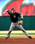 4 September 2009: Minnesota Twins' shortstop Brendan Harris takes infield drills prior to a game against the Cleveland Indians at Progressive Field in Cleveland, Ohio. The Indians defeated the Twins 5-2 to take the first game of their three-game weekend series. Mandatory Credit: Ed Wolfstein Photo