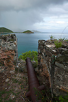 Canons at the historic fortress of Fortsberg.St. John.U.S. Virgin Islands